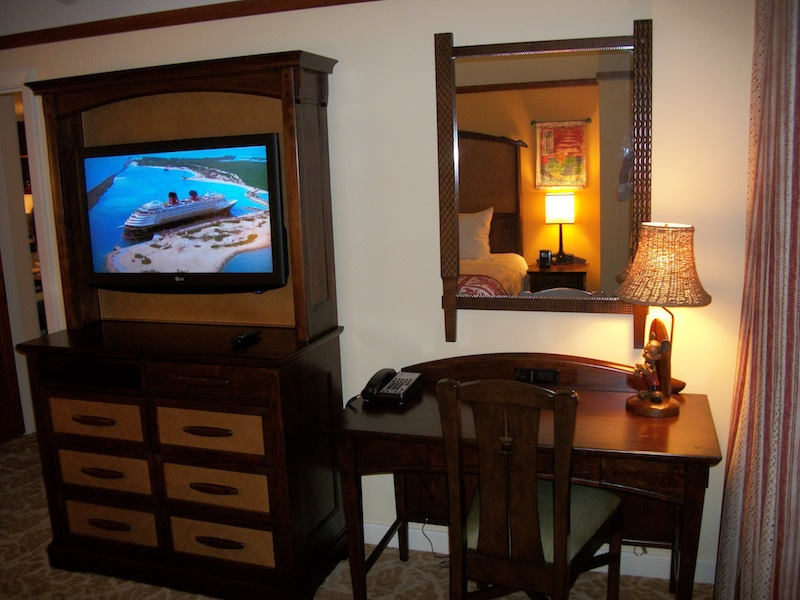 Master bedroom TV, armoire and writing desk