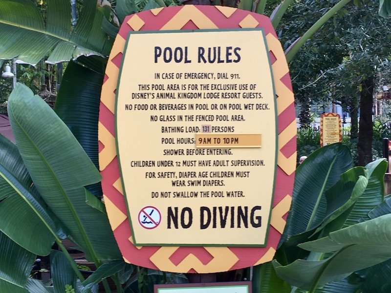 Pool area rules