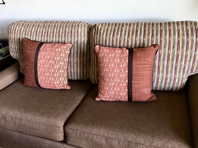 Sofa with throw pillows