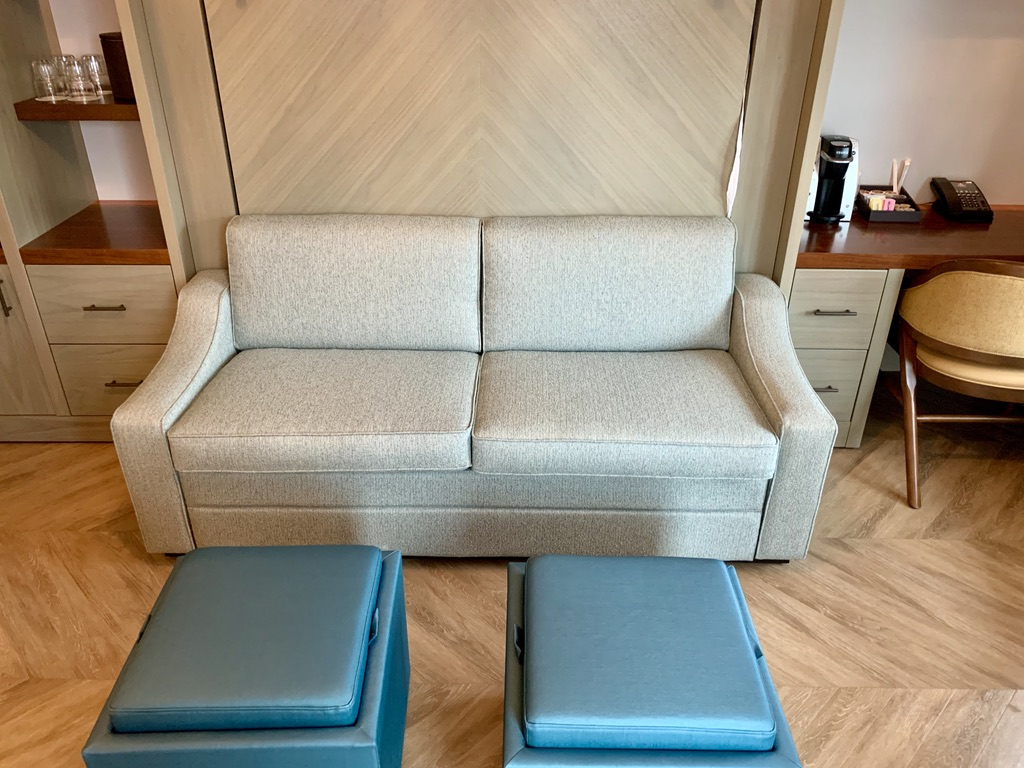 Tower Studio sofa and two storage ottomans