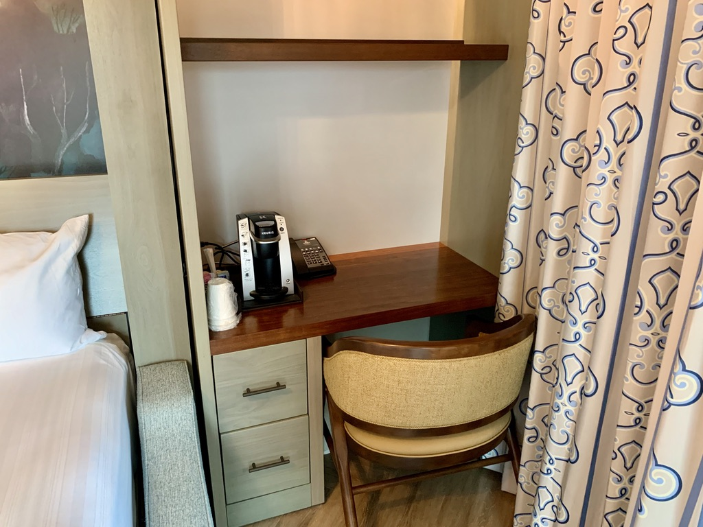 Right side desk and Keurig coffee maker