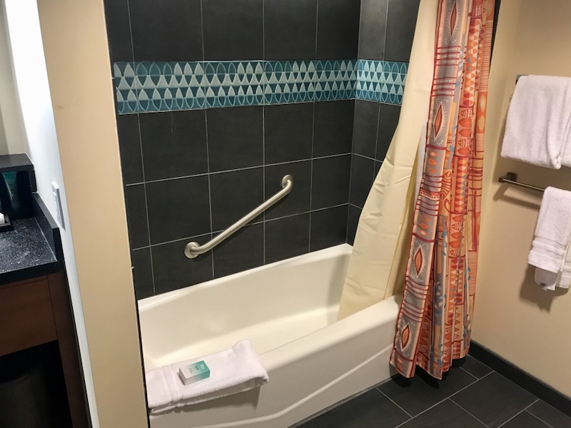 Split bathroom tub and shower