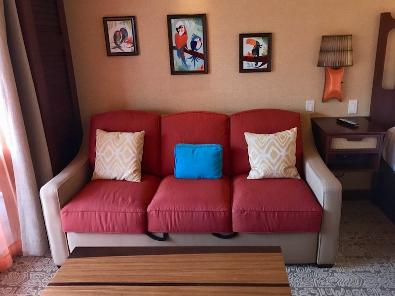 Sofa bed and artwork