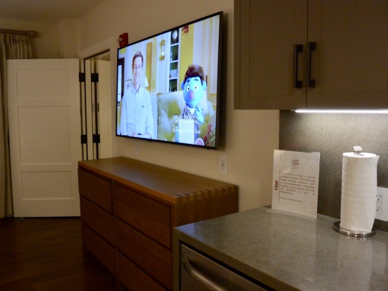 Living room flat panel television and storage